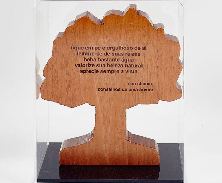 TREE OF LIFE foi à sombra de uma árvore que o designer Paulo Alves passou parte da infância. E da natureza, mais precisamente a madeira, vem a sua principal matéria-prima ao longo da carreira. Segundo Alves, mais do que um material, a árvore segue, até os dias de hoje, como uma das principais inspirações de formas para os desenhos. A peça é feita com madeira mogno de vigas de demolição e mede 20cm L x 22cm A x 5cm P.