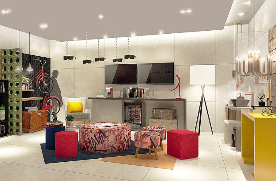Loja da Construção - Gerson Dutra e Ana Salama. Garagem, office, hall e banheiro são os quadro ambientes criados nestes 34m2, pensados para varias a exposição dos produtos. A linguagem é moderna e brinca com cores variadas para descontrair.