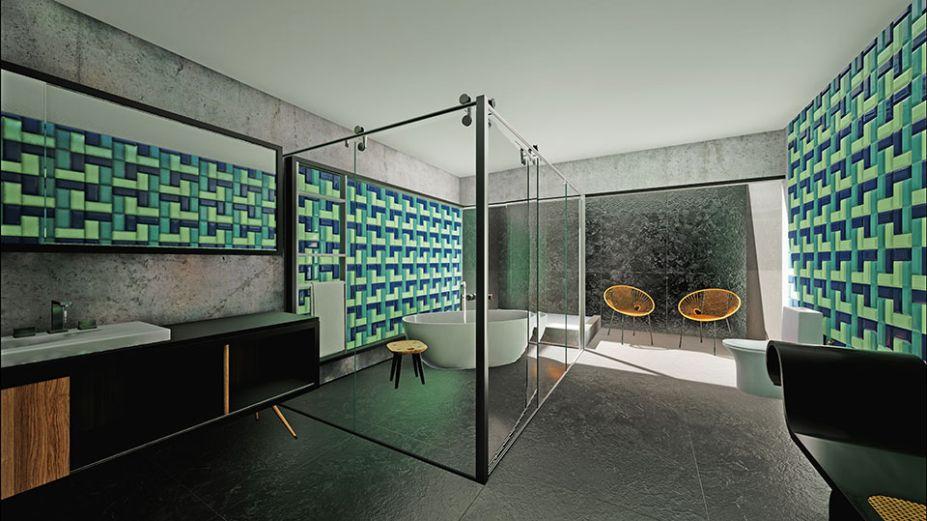 Banheiro Virtual: Gabi Braga. No banheiro residencial, as paredes recebem um ladrilho bisotado esmaltado nas tonalidades verde e azul. As citações aos anos 60 prosseguem no banco marquesa de Oscar Niemeyer e na bancada em madeira com pés palito, desenhada pela arquiteta.