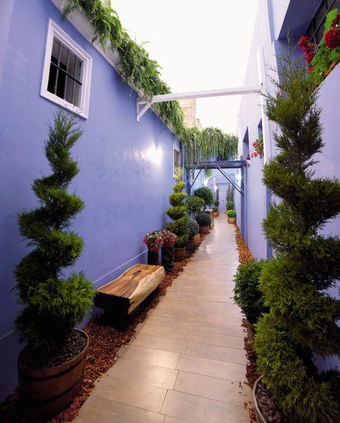 <span>Oásis Urbano no Pátio e Corredor - Ruth Iris Pariona Caro. O corredor verde e aberto conduz ao próximo espaço - e esta passagem deixa a mensagem de cuidado com o planeta. Alguns bancos em madeira convidam a contemplar flores, arbustos e árvores que compõem o paisagismo e são valorizados pelas paredes em azul.</span>