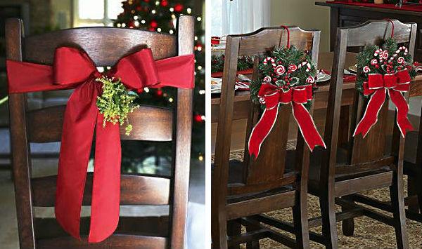 Para finalizar a decoração, as cadeiras também podem ser enfeitadas com laços de fitas que sobraram de outros Natais.