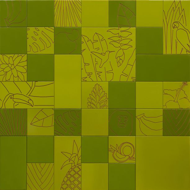 A linha é comemorativa também aos 50 anos do movimento tropicalista, responsável por uma grande transformação cultural do Brasil, liderada por renomados artistas como Caetano Veloso,e Gilberto Gil. Os painéis de 2 m², compostos por ladrilhos de 20x20, 20x40 e 40x40 cm podem ser encontrados em verde claro, verde escuro, laranja e mostarda.