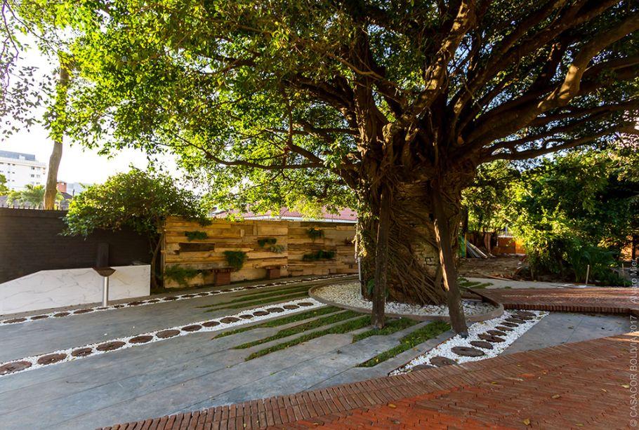 EL BIBOSI DE LOS DESEOS - GABRIELA GREINER E NATALIA PEREYRA. Bibosi, em espanhol, é o nosso famoso Ficus. A imensa árvore cresceu abraçando uma antiga fonte de água, acessada pela pequena ponte ladrilhada em adobe. Para delimitar o espaço de 235 metros quadrados, também foi instalado um muro verde, em madeira reciclada.