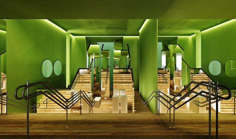 José marton - Jardim e Entrada da Luxúria. Espelhos, chão de tábua corrida e pintura verde-hortaliça convidam a uma experiência diferente na entrada. O labirinto e os reflexos convidam a refletir sobre o comportamento na era digital.