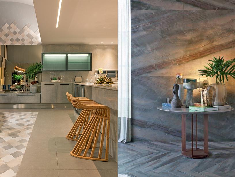 """À esquerda, na <strong>Cozinha Industrial</strong>, de Patricia Pasquini, o ladrilho em três tons, que forra e cria um tapete no chão abaixo da mesa, sobe e reveste parte da parede. À direita, o <strong>Estar Refletido</strong>, de Sandra Picciotto conta com o mesmo modelo de mármore no piso e na parede. """"A ideia era que a parede, que é frontal a quem entra no espaço, tivesse um grande impacto e desse acabamento nas janelas do Jockey Club"""", diz a arquiteta."""