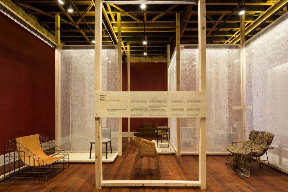 Vazio S/A - Mostra 100% Minas. A mostra exibe um outro olhar sobre elementos comuns da construção civil - mas que quase nunca são considerados na arquitetura final -, como escoras de pinus e telas.