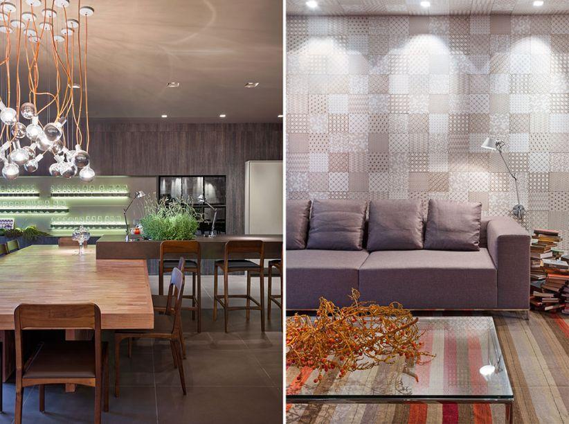2014 - <strong>Espaço Gourmet Decortiles</strong>.<span>Essa volumetria na cozinha criou ritmo para o espaço, complementando o teto rebaixado com uma solução fantástica de iluminação. Destaque para o emaranhado de pendentes Top Bowl, chamando atenção sobre a mesa de jantar e para as plantas presentes em todo o ambiente, </span>