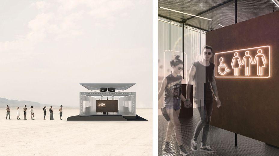 1º lugar categoria Arquitetura - Banheiro de Festival de Música por Breno Felisbino