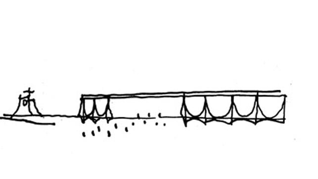 """O presidente JK pediu à Oscar que o Palácio da Alvorada fosse uma """"obra magnífica"""". A coluna utilizada nesse edifício, simétrica com quatro curvas e uma intersecção entre os eixos, tornou-se um símbolo da arquitetura moderna no Brasil e foi recorrente nas obras de Oscar."""