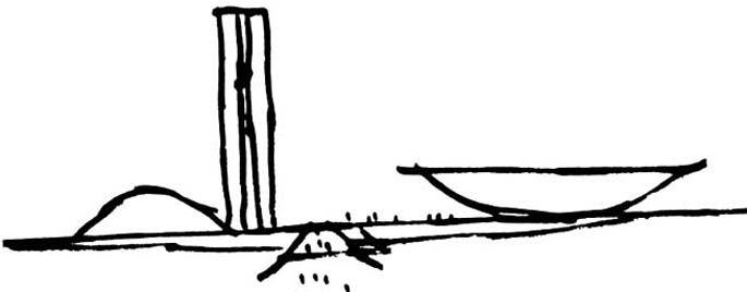 Para o Palácio Nereu Ramos, que abriga o Congresso, o mestre desenhou duas torres simétricas que se comunicam, simbolizando o diálogo e cooperação entre Senado e Câmara dos Deputados; representados pelas duas cúpulas.