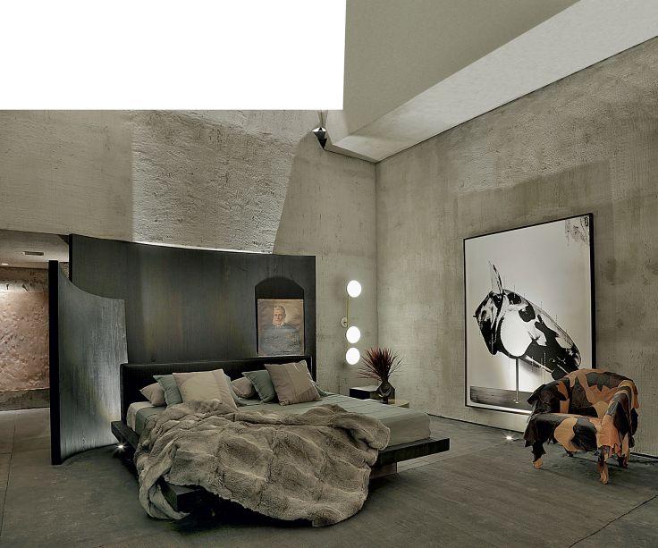 CASACOR SP 2017: Suíte Black - Gustavo Neves. La Tête du Cheval, de Sofia Borges. Uma das peças mas simbólicas do espaço, o grande quadro em preto e branco, representando uma cabeça de cavalo, foi produzido com pigmento mineral sobre papel algodão e está hospedado na Galeria Milan.