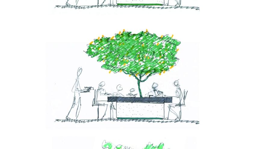 Stefano Boeri Architetti para a ARAN Cucine. Mais do que um espaço multifuncional, o produto diz muito sobre o jeito italiano de viver e propõe uma árvore de frutas no meio da mesa de jantar, que tem um fogão equipado acoplado nela, com todos os equipamentos necessários para o ciclo de refeições. A presença da árvore é uma referência simbólica, que diz muito sobre relações familiares. Árvore, mesa e fogão se tornam então um único objeto que pode colecionar histórias, memórias e segredos de cozinha.