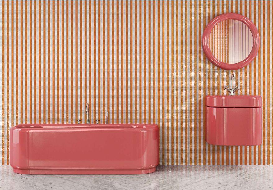 Para a Semana de Design de Milão 2018, a Bisazza revela um novo conceito de banheiro assinado pela designer francesa India Mahdavi.Para sua segunda colaboração com a marca, India transformou o tradicionalbanheiro branco com sua estética de design distinta usando formas lúdicas e ricas cores pastel.Como se saísse de uma revista em quadrinhos, a banheira Plouf , o lavatório Splash e o espelho Woew apresentam suasformas suaves e arredondadas em três cores exuberantes: pistache, morango e mirtilo.