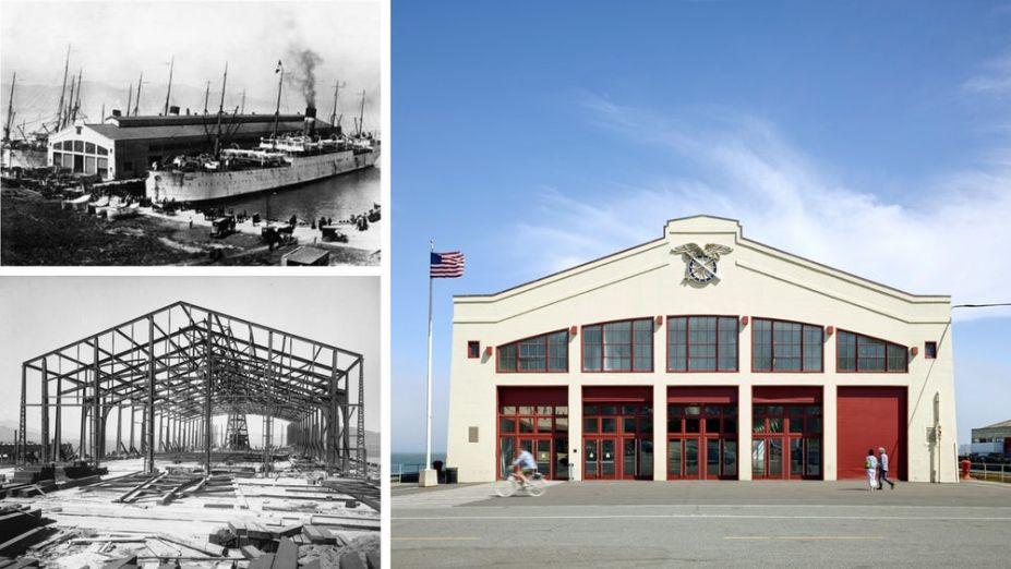 Acima à esquerda: Fort Mason Pier 2 no ano de 1910. Abaixo à esquerda: construção em 1909. Foto à direita: prédio depois da restauração.