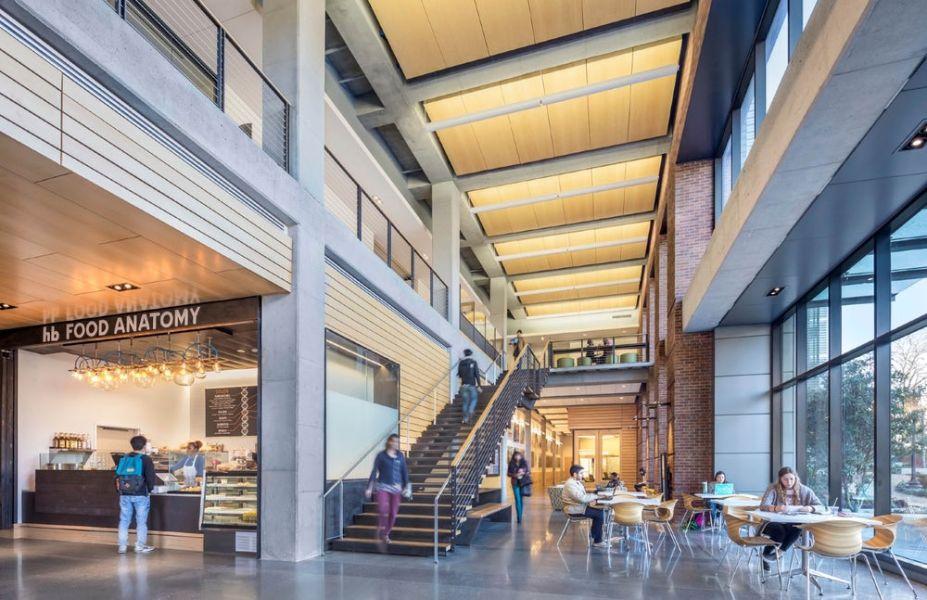 Além das instalações de laboratório e suporte altamente funcionais e adaptáveis, o sucesso do edifício é derivado das aberturas e transparências entre os pisos e espaços.