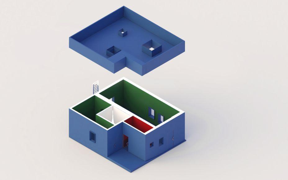 Na perspectiva é possível ver a localização do quarto branco secreto projetado para destacar o sal.