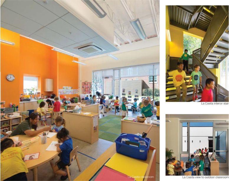 Grandes janelas marcam a sala de educação infantil.