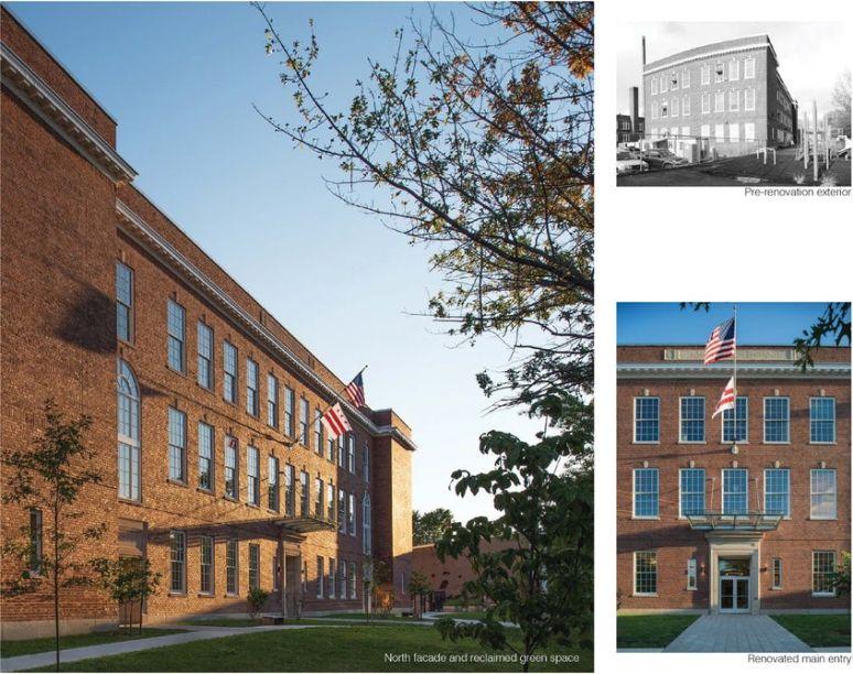 Detalhes da renovação do edifício histórico.
