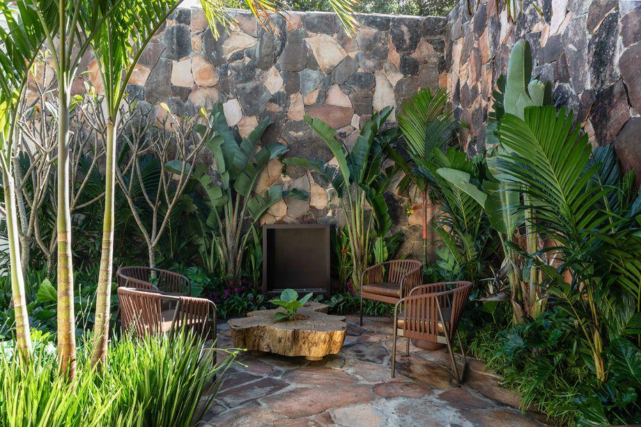 Jardim da Tartuferia - Bia Abreu. No jardim de 60 m², convivem lírios-da-amazônia, medinilas, orquídeas tutti-frutti e uma palmeira-laca. O visual de folhagens e espécies exóticas se alia a soluções sustentáveis, no projeto que inclui uma mini-horta para ser utilizada pelos chefs.