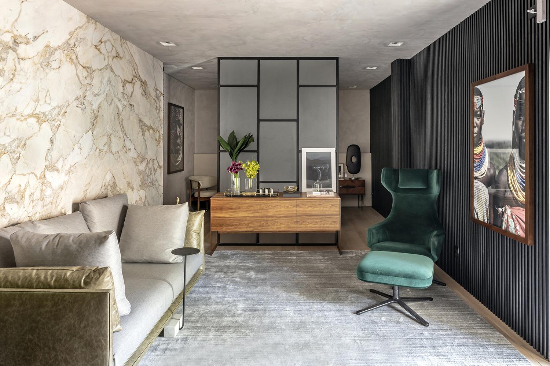 poltrona verde erica salguero estudio do executivo veludo tecido decoração tendência