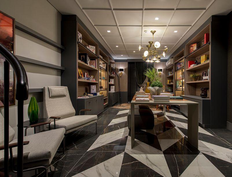 O luxo dos anos 1920 foi a inspiração de Luiza Fortkamp e Hebert Evaristo na Livraria. Ali, impera a atmosfera glamurosa do jazz. Por isso a escolha foi um padrão preto e branco clássico no piso.
