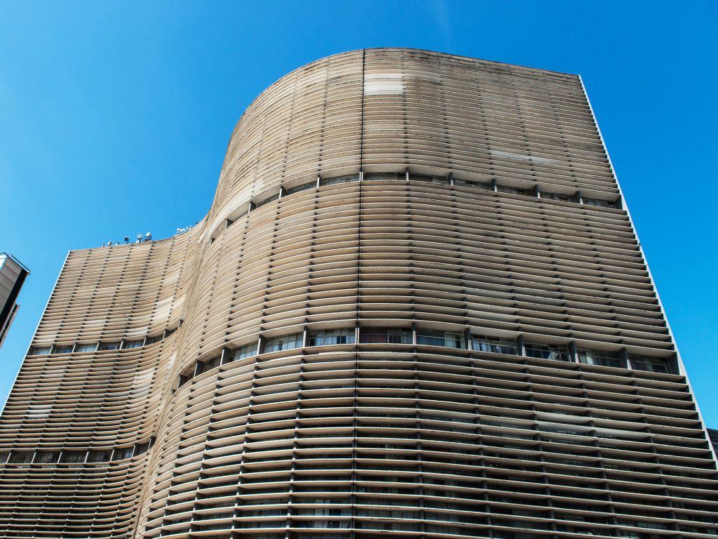 Edifício Copan visto de baixo para cima