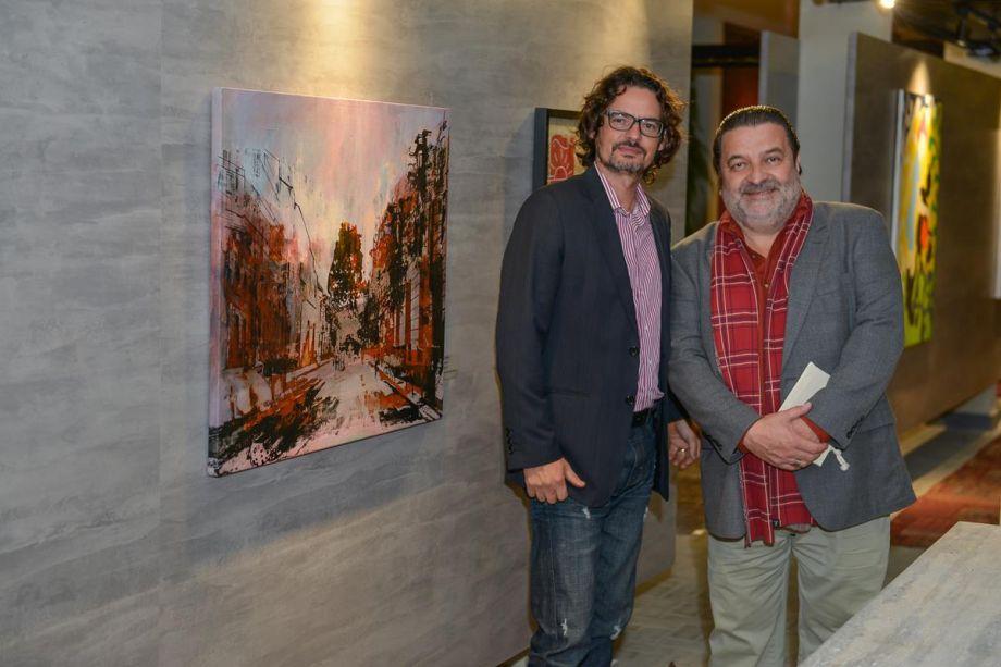 Escultor Emanuel Vasco Nunes e curador de arte Cézar Prestes