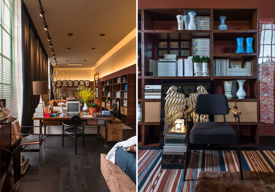 <span>Loft Eu + Tu + Elas - Michel Safatle.A estante terracota exibe livros e objetos selecionados e dispostos cautelosamente pelo profissional.</span>