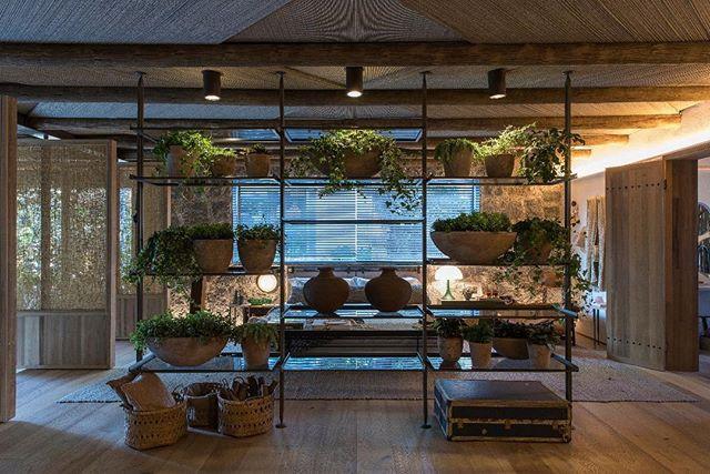 """<span style=""""font-weight:400;"""">Casa Raízes - Triplex Arquitetura. Além de acomodar vasos e objetos de decoração, a estante também faz as vezes de divisória de ambiente.</span>"""