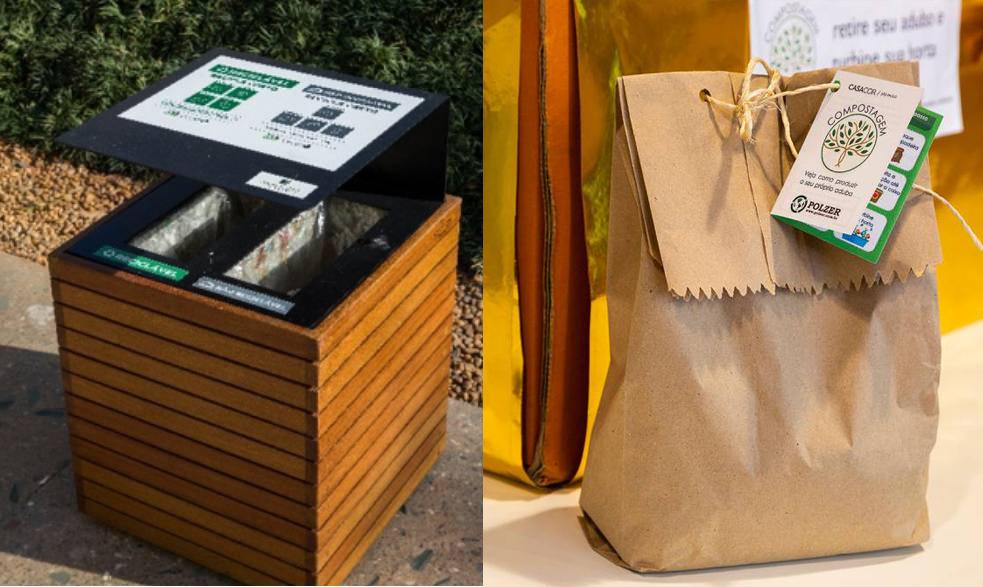 Na esquerda, a lixeira desenhada por Ricardo Afiune que armazena resíduos recicláveis e não recicláveis. Na direita, os saquinhos adubo orgânico distribuído para os visitantes e funcionários da CASACOR.