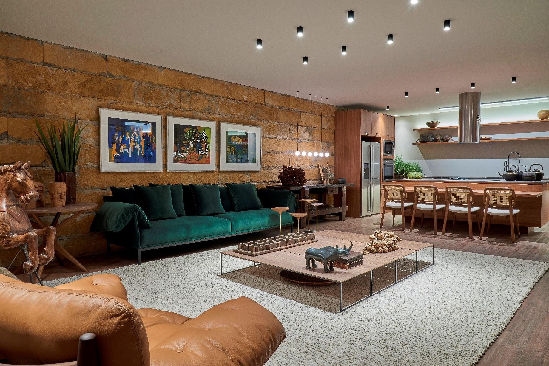 sofá verde miguel gustavo casacor brasilia 2018 casa de campo decoração projeto