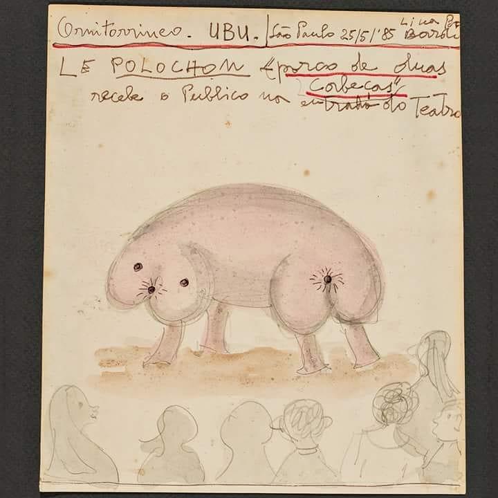 Ilustração em papel feita por Lina. Polochon ao centro na frente de uma audiência