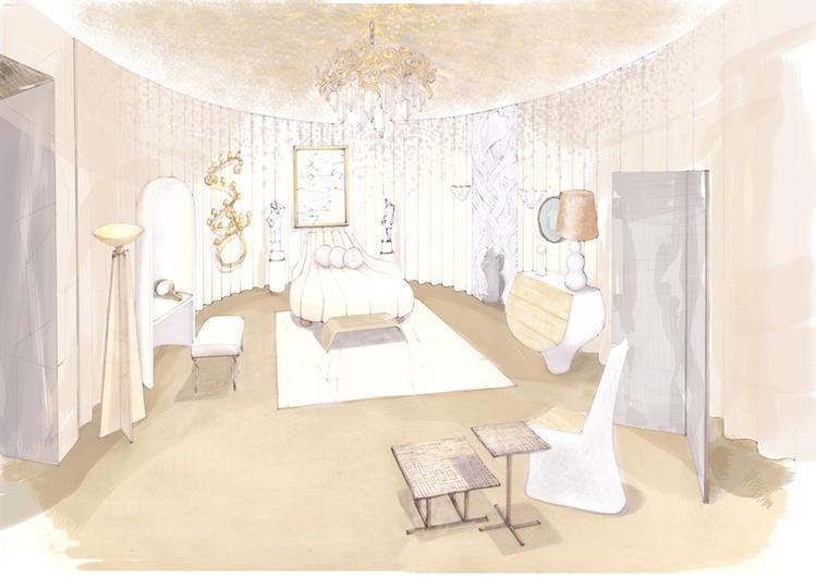 A Sala de Costura – Anne-Sophie Pailleret. Feminina e delicada, essa sala reflete o glamour da Hollywood dos anos 1920. Grandes quantidades de tecido criam formas e dão textura, destacando a bela cama em formato de concha.