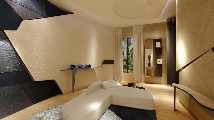 Sala de Conversação – Bismut e Bismut. Fluido, gráfico e rico em texturas, este é um espaço que consiste em console, biblioteca, bancada e estar, todos em tons pastel com revestimentos escultóricos.