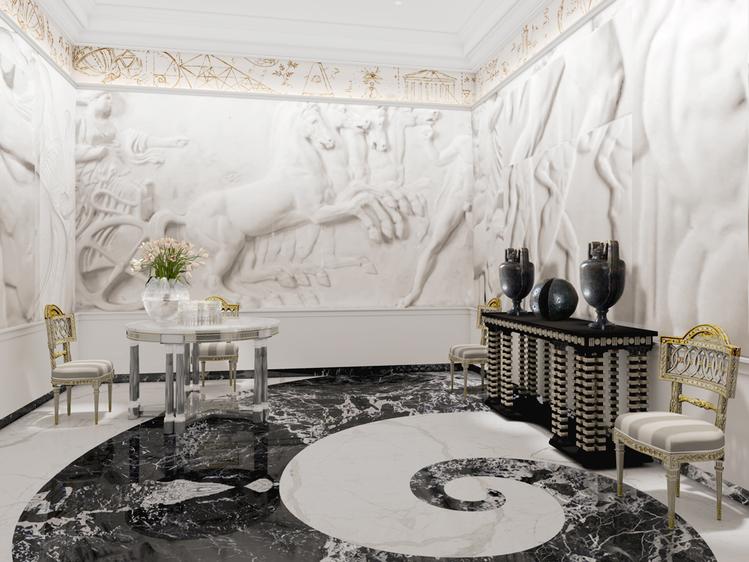 A Sala de Jantar Neoclássica – Juan Pablo Molyneux. Os baixo-relevos em branco são o destaque da sala, porém, Juan Pablo rompe e contrasta o estilo neoclássico com toques de modernidade no mobiliário.