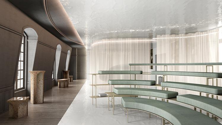 O Escritório Filantrópico – Ramy Fischler. Três zonas compõe o ambiente, que é iluminado por uma cortina. Fischler opta por um layout menos tradicional de escritório, com bancos, assentos de leitura no chão e módulos esculturais.