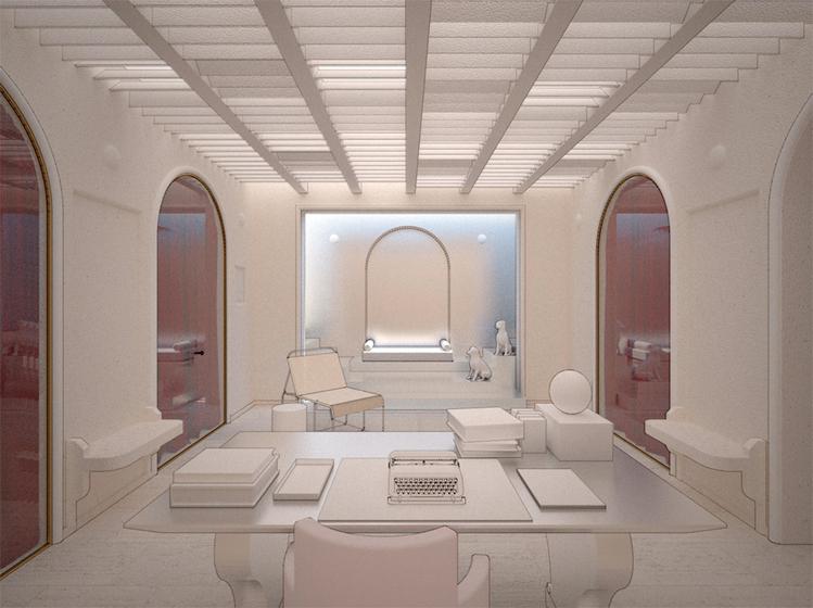 A Antecâmara de um Dândi – Scotto Lecoadico. A inspiração para o espaço foi o estilo neoclássico. Tons claros e brincadeiras com arcos criam a atmosfera imponente e solene no ambiente.