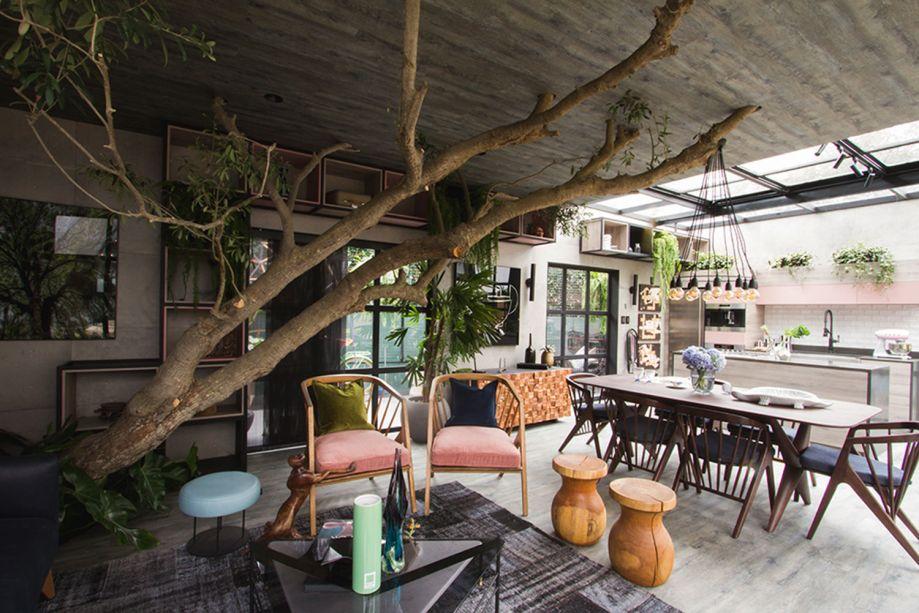 Loft de Marianne - Diego Olivera.Marianne Brandt revolucionou a escola Bauhaus e inspira o loft contemporâneo. O respeito à natureza é tamanho, que Diego elege a oliveira como o coração do ambiente, sob a qual se aninha a sala principal. Os ambientes se completam, pontuados pelo frescor do rosa pastel, azul e verde.