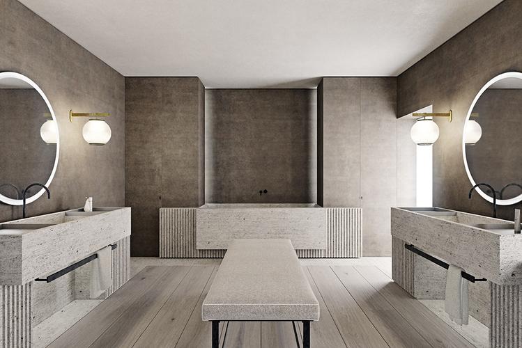 O Salão do Banheiro – Nicolas Schuybroek. A luz que adentra o espaço cria uma atmosfera leve e delicada. Ela também destaca as linhas do mobiliário discreto e geométrico disposto com perfeita simetria.