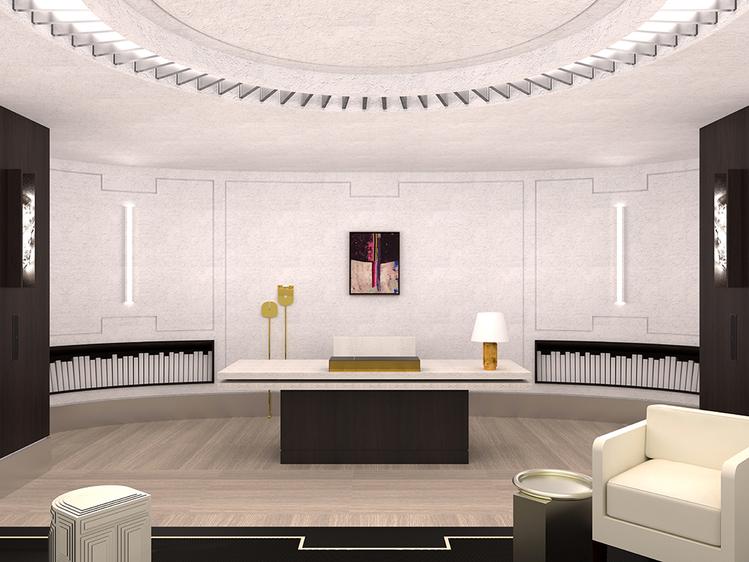 O Escritório de Resto – Stéphane Parmentier. A simetria e o minimalismo regem o espaço. Um padrão gráfico destaca as paredes de estuque, as quais emolduram uma grande mesa de bronze.