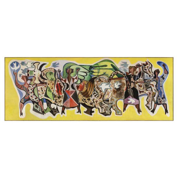 Painel Bumba meu Boi de Di Cavalcanti. A obra da Galeria Almeida & Dale foi a mais cara da feira. Vale e o de 20 milhões de reais.
