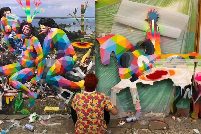 OKUDART working away in his studio on #ThePlasticIsland for his SCOPE Miami Beach installation with Mirus Gallery and Hi-Fructose Magazine!