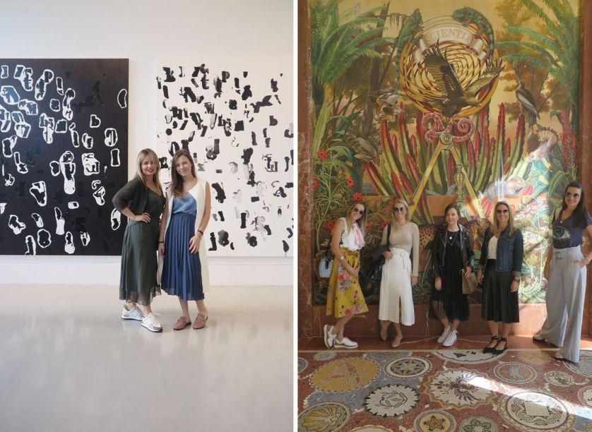Grupo Uniflex no Hotel Faena (direita) e na galeria de la Cruz Collection (esquerda)