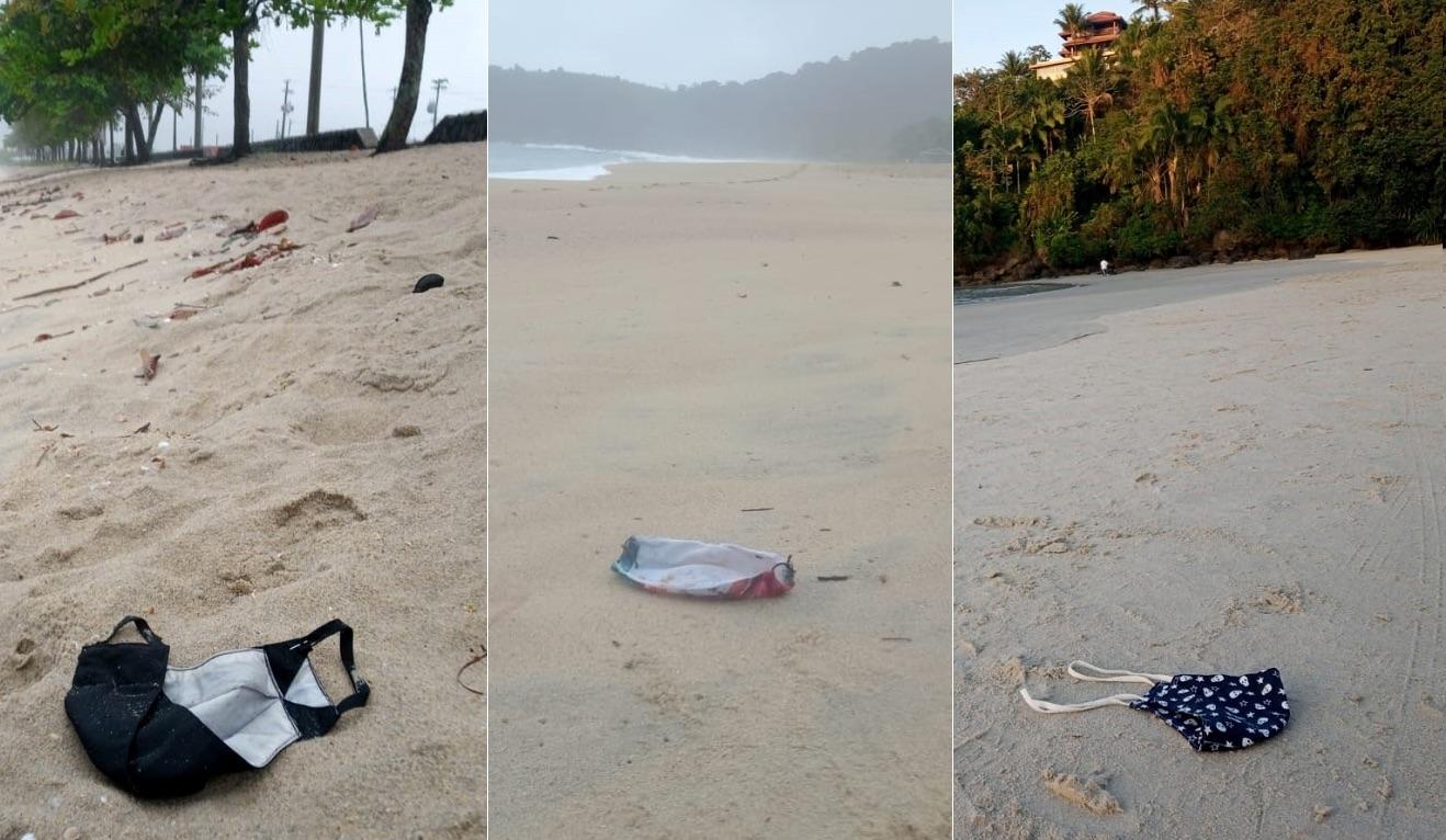 máscara abandonada na praia- lixo no mar