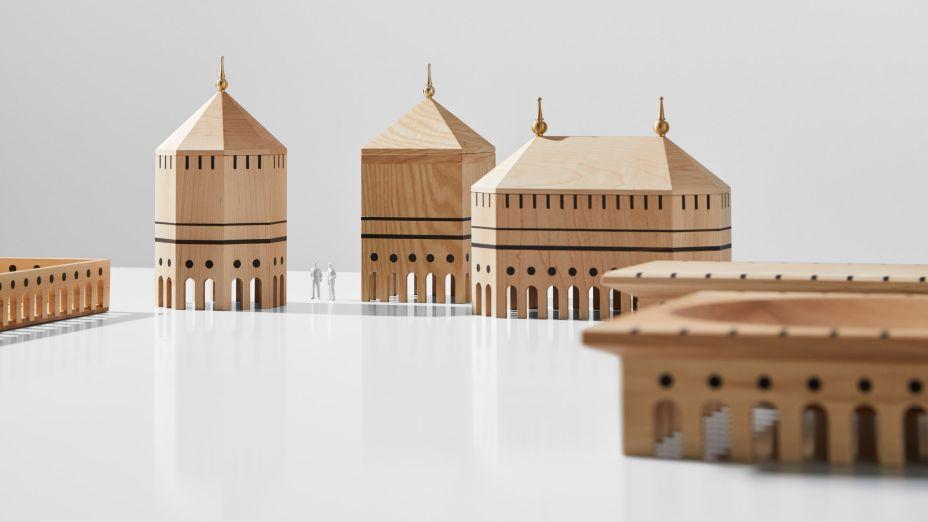 O Mad Lab criou vasos de madeira que se assemelham a edifícios em miniatura