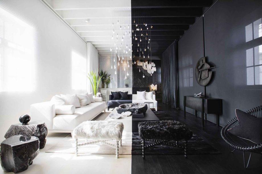 Elemental Lounge - Erika Zielinski. Enquanto o estilo nórdico busca luz, o design russo não tem medo de escuridão. Tendências opostas que se atraem e dividem o espaço graficamente, com o preto e branco em sua forma mais elementar. Repare na falsa simetria entre as peças de mobiliário que trazem, em comum, o glamour em espaços para receber.
