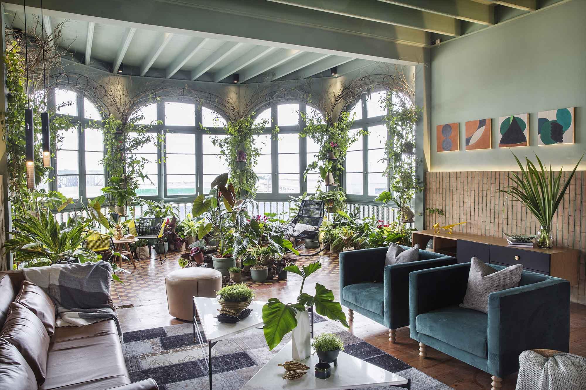 Jardim dentro da sala com vasos - casacor