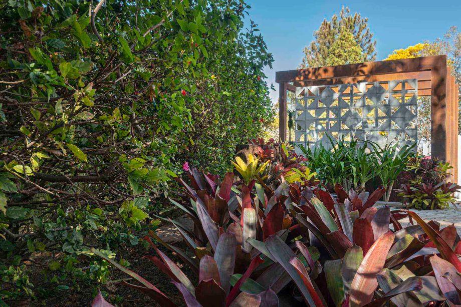 Erly Hopper - Jardim do Restaurante. Duas jardineiras ladeiam a entrada do restaurante, que oferece uma proposta árida, que remete à vegetação africana. O conceito é reforçado pelas jasmim manga, plantas utilizadas em grande quantidade. O jardim, por outro lado, homenageia Burle Marx, com bromélias em tons variados dispostas em cinco colunas.