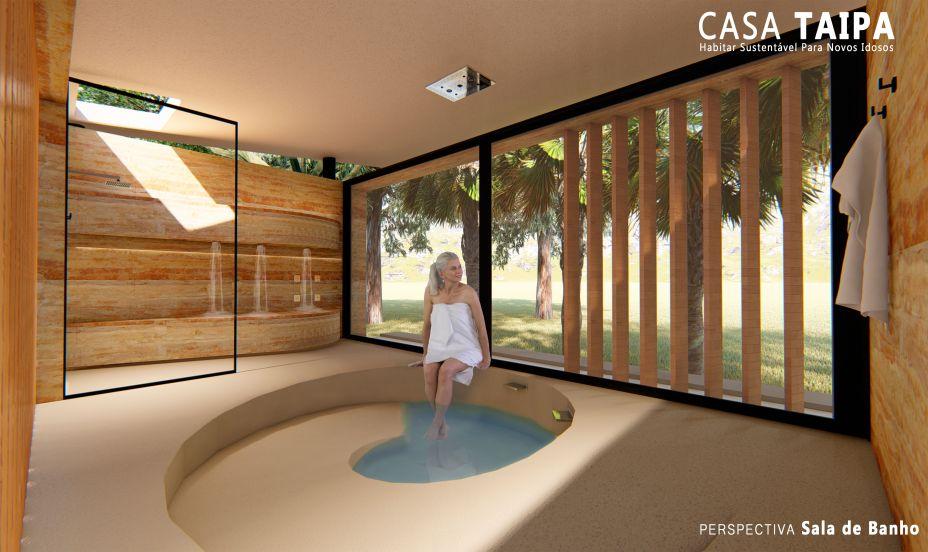 Toda a estrutura é de madeira de reflorestamento e a taipa, o método construtivo aplicado para não agredir ao meio ambiente.