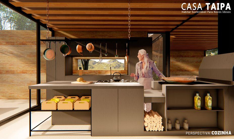 Dentre os destaques está o sistema de coleta de águas pluviais, a sala de banho como espaço de contemplação e relaxamento e a cozinha ampla, com fogão à lenha, criada para momentos de compartilhar.